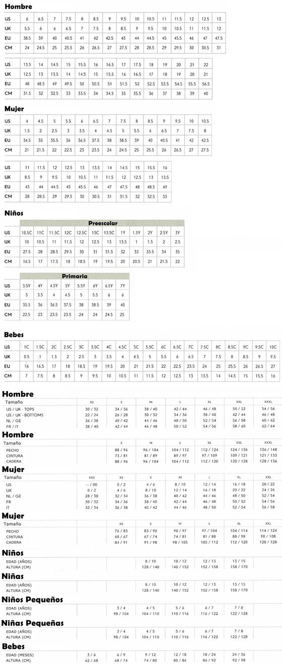 Tallas: Tabla de equivalencias - Tot Sport